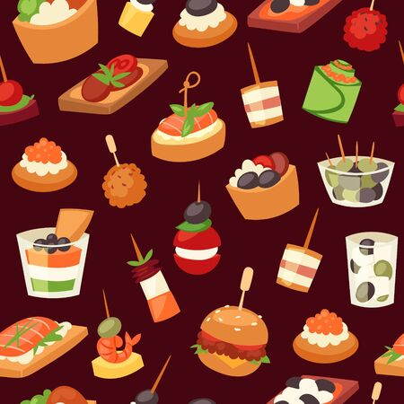 Canapes, mini burgers, appetizer, finger food with caviar, olives and green vegetables cartoon seamless pattern vector illustration. Buffet, restaurant canape finger food and snack webpage.