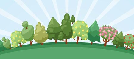 Summer forest with blooming trees, cute landscape cartoon vector illustration. Spring or summer trees with flowers and fruits and uprising sun sky and forest background.