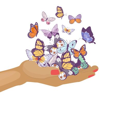 Butterflies flying on womans hand beautiful spring and summer insects vector cartoon illustration. Butterflies on girls arm isolated on white background.