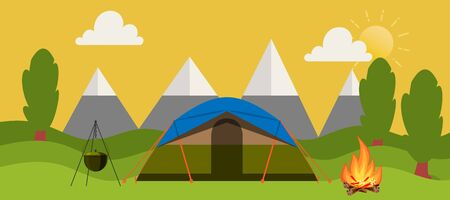 Campsite place in forest vector cartoon illustration horizontal banner. Camping landscape with tent, bonfire and mountains. Summer nature outdoors camp place. National park travel campground.