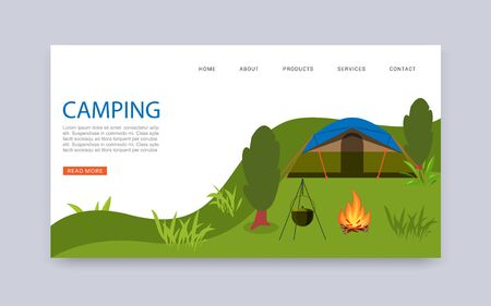 Camping in nature travel agency services vector web template. Campsite with tent and bonfire. Summer nature outdoors camp place. National park area travel campground website.