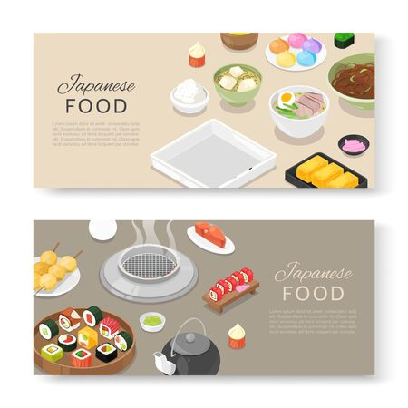Asian Japanese food cuisine assortment for Japan restaurants menu. Ilustracja