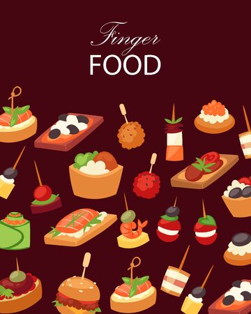 Finger food with shrimps, fish, olives and green vegetables appetizer, canapes, tapas on plate, cartoon background vector illustration. Buffet, restaurant canape finger food and snack poster.
