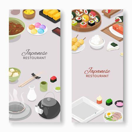 Asian Japanese restaurant assortment of Japan food.