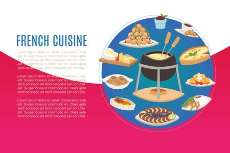 French cuisine, national menu of  food for restaurant