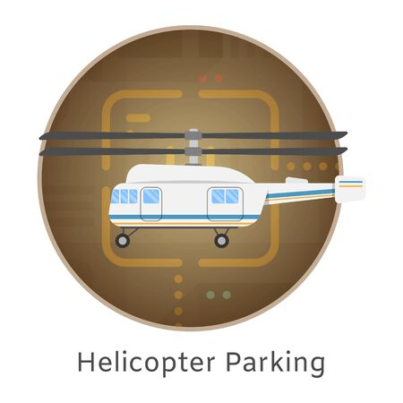 Helicopter landing and parking airport terminal top view vector illustration. Buildings aerodrome paths hangar for helicopter landing pad in circle banner.