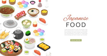 Japanese food with sushi rolls, fish, sashimi, noodle and miso soup banner cartoon vector illustration. Asian japanese food cuisine assortment for Japan restaurants menu. Illusztráció