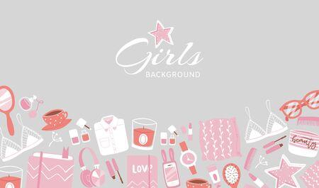 Girls accessories and cloths on grey Illusztráció