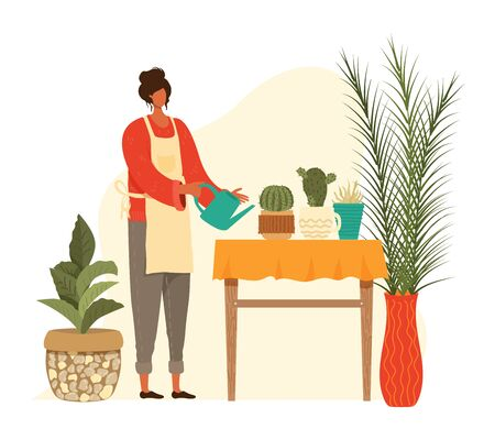Pot home plants and woman planter gardening, urban cactus and cacti, palms collection isolated on white vector illustration. People living in city cultivating houseplants, growing greenery in pots.