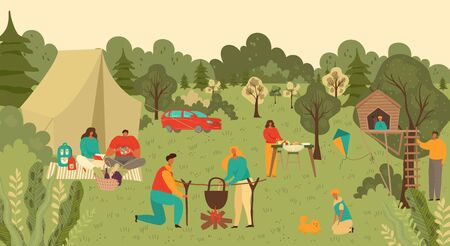 Family and people in park outdoors picnic, mother, father and children with food and playing on countryside grass in summer nature cartoon vector illustration. Family couple and kids on picnic.