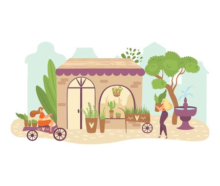 People in garden, greenery flat illustration with women gardeners bring plants on bike, take care of green herbs in pots. Natural plants, herbs, vegetables, gardening isolated on white. Illustration