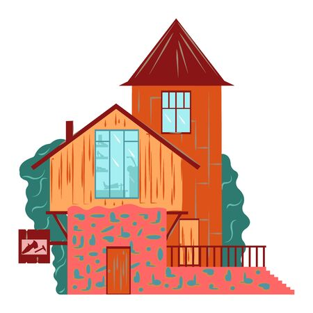 Residential house building exterior, facade architecture, two floors, brick tower flat illustration isolated on white. Old european cottage facade with widows, chimney and cobbler signboard. Vecteurs