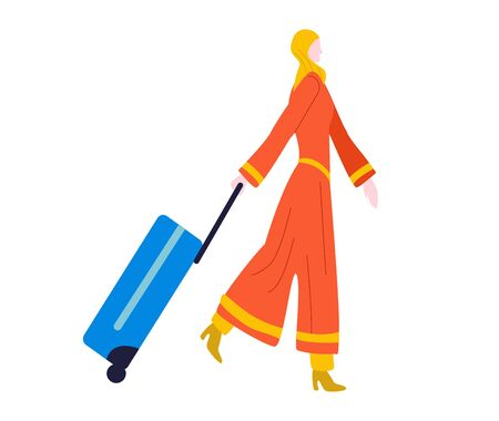 Tourist woman walking with suitcase baggage in airport traveling, journey isolated on white