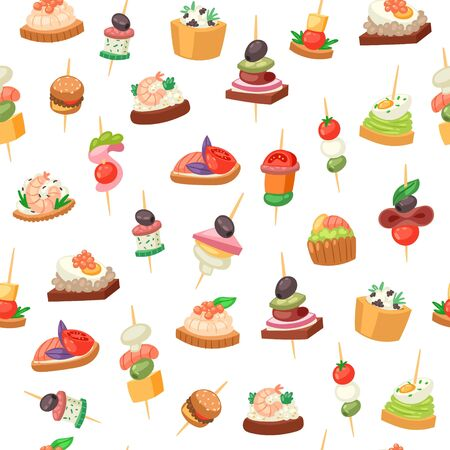 Canapes, tapas on piece of bread, appetizer dish with caviar, olives and green vegetables seamless pattern vector illustration. Buffet, restaurant canape finger food and snack background.