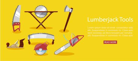 Timber industry vector illustration of lumberjack tools, chainsaw and axe, petrol chain saw web banner. Professional lumberjack instrument, working tool.