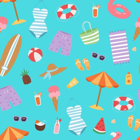 Summer beach seamless pattern with umbrella, cocos and icecream, swimming flamingo, surfboard and holiday elements vector illustration. Vacation on sea summer beach background.  イラスト・ベクター素材