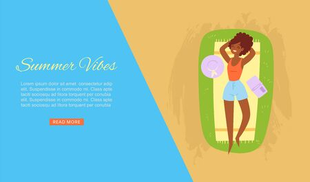 Summer vibes dark skinned girl taking sun bath on sea beach banner with ocean sand holiday elements vector illustration. Vacation on sea summer vibes beach poster.