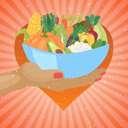 Eco vegetables in bowl, garden organic healthy veggies food cartoon vector illustration. Carrot, zucchini, eggplant and asparagus. Corn, celery, pumpkin or avocado for vegans on retro background.