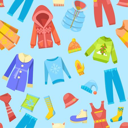 Warm winter clothes and woolies, winter apparel with scarf, winter fashion, hat, coat and sweater, jacket, glove outerwear seasonal seamless pattern vector illustration. Winter cloths background.