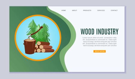 Wood industry sawmill woodcutter lumbers industrial timber forest vector illustration. Wood industry cartoon timbers webpage template.