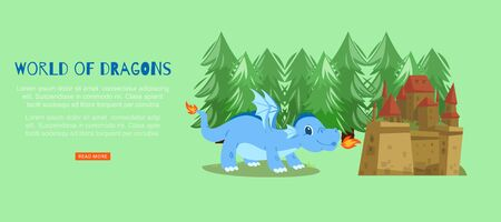 Word of fairy dragons with medieval castle and magical dragon spitting fire cartoon vector illustration. Fairytale web banner for children performance or webpage.
