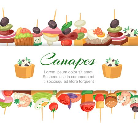 Canapes, tapas on plate, appetizer, finger food with caviar, olives and green vegetables cartoon banner with lettering vector illustration. Buffet, restaurant canape finger food and snack poster.