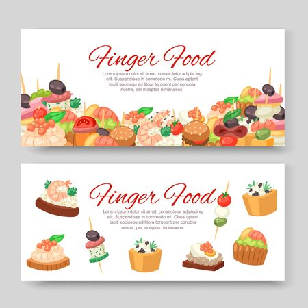 Canapes, tapas on plate, appetizer, finger food with caviar, olives and green vegetables cartoon banners set vector illustration. Buffet, restaurant canape finger food and snack poster.