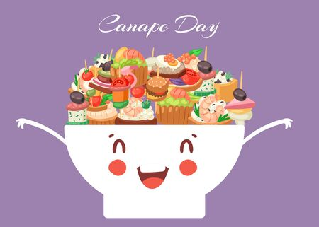 Canapes, tapas, appetizer cute kawaii bowl with caviar, olives and green vegetables cartoon vector illustration. Buffet, restaurant canape pre food and funny snack poster. Archivio Fotografico - 143035429