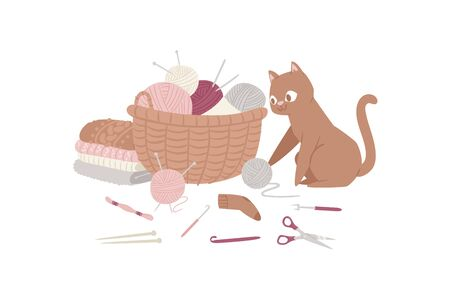 Knitting and kitten with threads, knitted scarf, cap, sweater, yarn balls and basket of wool cartoon vector illustration. Knitwear hand made with funny cat poster.