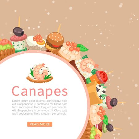 Canapes, tapas on plate web banner, appetizer dish with caviar, olives and green vegetables cartoon vector illustration. Buffet, restaurant canape pre food and snack.