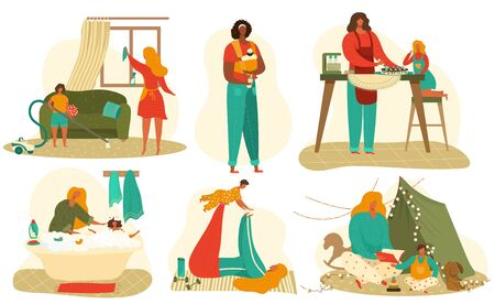 Mother and baby daily routine set of flat vector illustrations isolated on white. Exercising mom with baby, bathing child, feeding and playing with daughter before sleep, home motherhood concept.