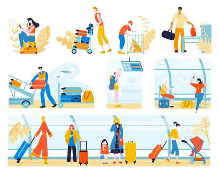 Tourists with baggage in airport people, traveling passengers waiting for check-in or departure set of vector flat illustration isolated on white. People in tour with luggage and air tourism, travel. Ilustrace