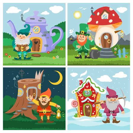 Gnome fantasy house vector cartoon fairy treehouse and magic housing village illustration set of kids banners. Fairytale playhouse for gnome or elf, mushroom, old tree and kettle. Illustration