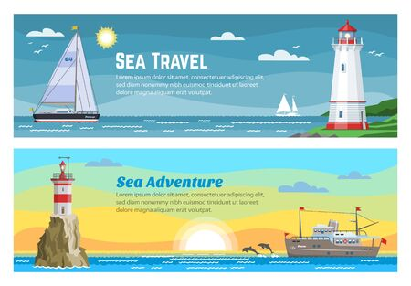 Lighthouse sea travel banners set vector illustration of blue ocean, island landscape. Sea, seagull, sky and lighthouse, navigation beacon building in ocean waters. Tourism and travel marine banner.