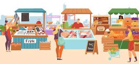 Verkaufsstände auf dem Lebensmittelmarkt, lokaler Bauernmetzger, Fischkioskladen, Bäckerei und Gemüsefrüchte stehen flache Vektorgrafiken. Lokaler Marktstand mit Bauernhoffleisch, Bio-Lebensmitteln. Vektorgrafik