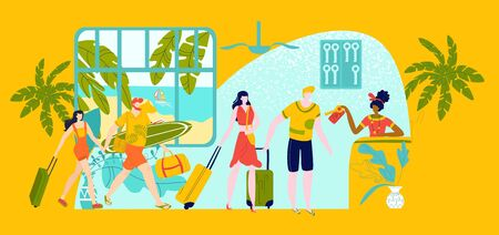 Hotel reception for travellers people on vacation, hostel for student hot tours to seashore in summer flat vector illustration. Travel accomodation for young people, receptionist gives keys to tourists.