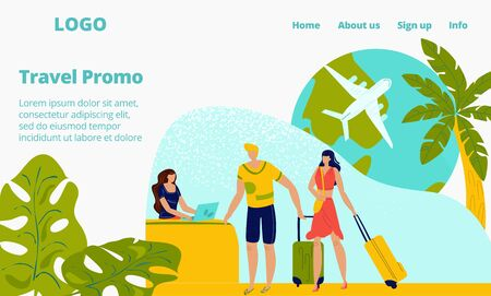 Hotel booking reservation for travellers people on vacation webpage, hot tours flights to seashore in summer flat vector illustration. Travel agency web site for tourism and active tourists. Ilustração