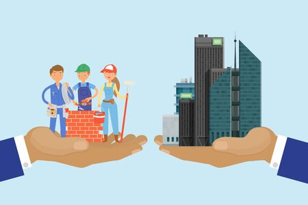 Bulding developers concept, skyscraper vector illustration. High building hand businessman in suit. Character builders team in overalls, uniform. Guy build brick wall, girl paint tool, roller.
