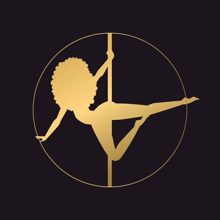 Pole dance black background, vector illustration. Woman in graceful pose on pylon, modern sport. Vector figure girl character stand in circle. Woman took steady position on equipment.
