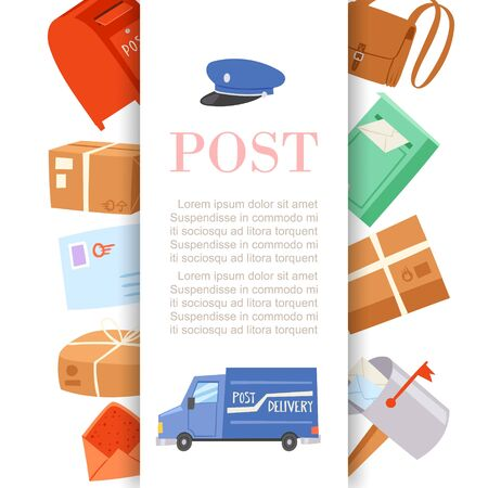 Post office letters and parcels delivery service poster with postal card, postmans cap and truck cartoon vector illustration. Post-office service background. Illustration