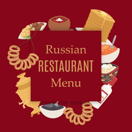Russian retaurant cuisine poster with caviar, thin pancakes, beet soup bortch, vodka and samovar, meat dumplings menu vector illustration. Food of Russia restaurant menu poster and russian cuisine.
