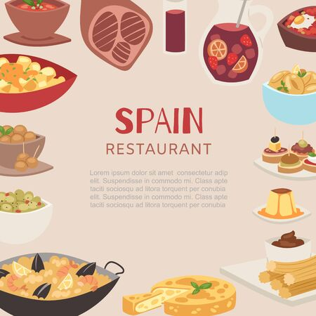 Spain and spanish restaurant cuisine traditional dishes poster vector illustration. Paella, beef meat leg and drink, desserts for spanish restaurant menu.