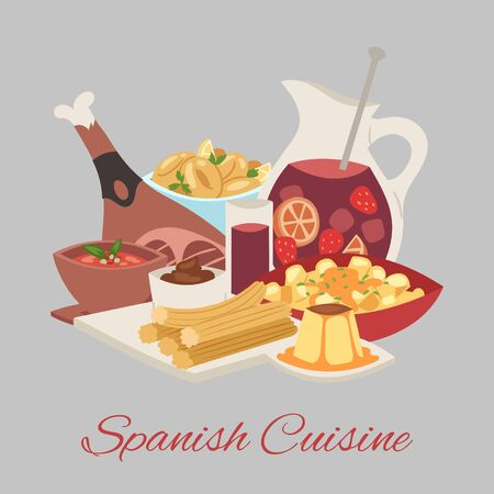 Spanish cuisine background traditional dish Paella, beef meat leg and drink vector illustration for restaurant or cafe. Spanish national food and cuisine restaurant banner.