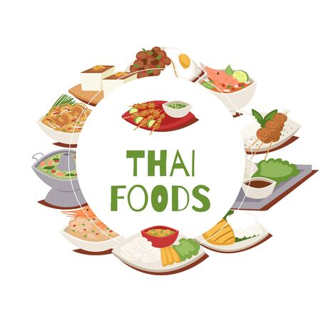 Thai food poster with thailand cuisine vector illustration, Tom Yam Goong, asian food ,thai spicy dishes. Thai food dishes restaurant or cafe menu poster.