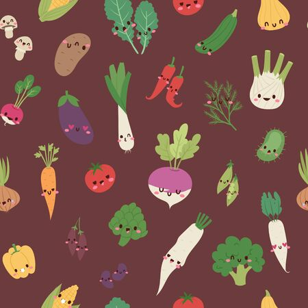 Cute kawaii vegetables mix with broccoli, carrot, tomato, pepper and onion, chili, eggplant, corn cartoon seamless pattern vector illustration. Vegans background with funny mix of veggies.