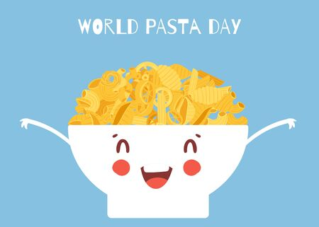 World pasta day vector cartoon illustration with noodles italian spaghetti or boiled pasta in cute bowl. World pasta day poster kawaii spagetti.