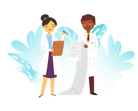 Hospital medical doctors male and female medicine workers physicians with stethoscope and cardiogramme, paramedics isolated on white vector illustration. Doctors professional team. Vecteurs
