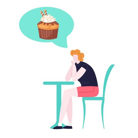 Woman on diet dreaming of tasty cake, unhealthy sweet food cartoon vector illustration isolated on white. Dietary and forbidden food, girl with overweigt dietetic in hunger sitting at table.