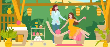 Girl in spa beauty salon, master does massage, manicure and pedicure, barbershop interior for woman cartoon flat vector illustration. Body care spa interior for health, relax and cosmetic prosedures.
