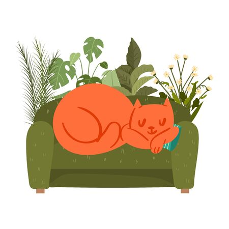 a man reading a book on sofa with sleeping cat at home. vector Vectores